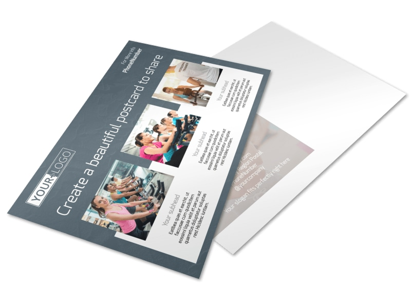 Cycling Fitness Center Postcard Template