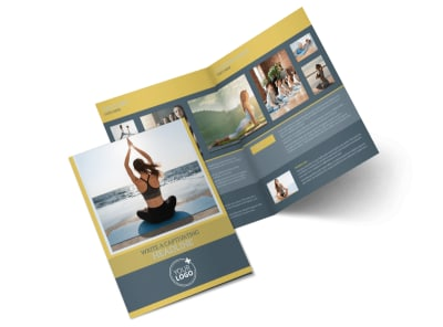 Relaxing Yoga Bi-Fold Brochure Template preview