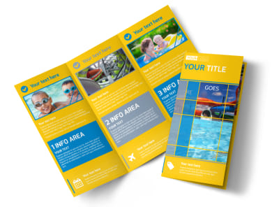 Water Park Tri-Fold Brochure Template preview