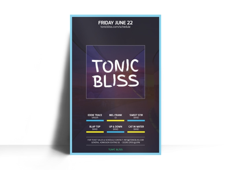 Tonic Bliss Music Poster Template Preview 3