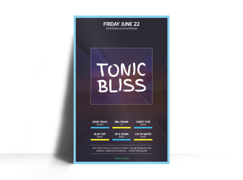 Tonic Bliss Music Poster Template Preview 1