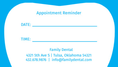 Family Dental Reminder Card Template Preview 1