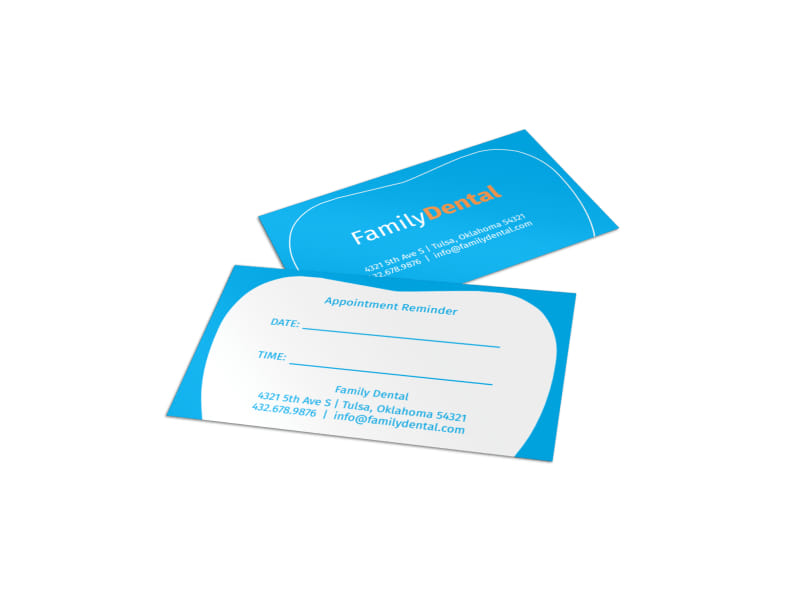 Family Dental Reminder Card Template