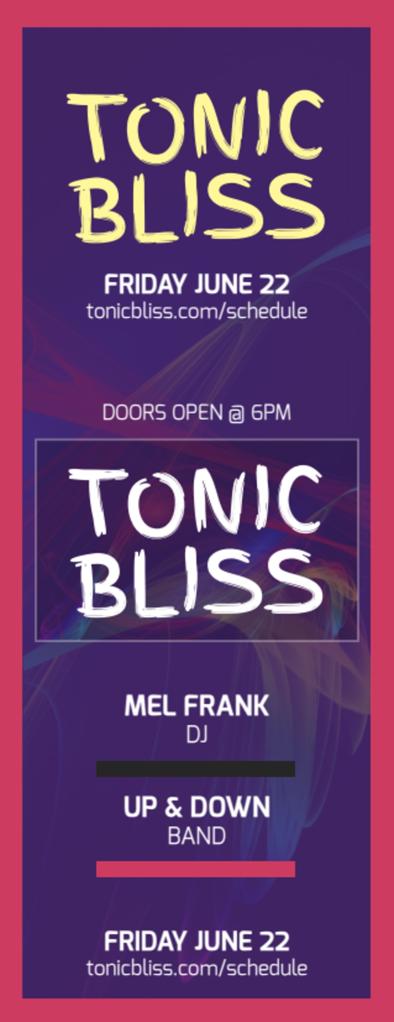 Tonic Bliss Music Concert Ticket Template Preview 3