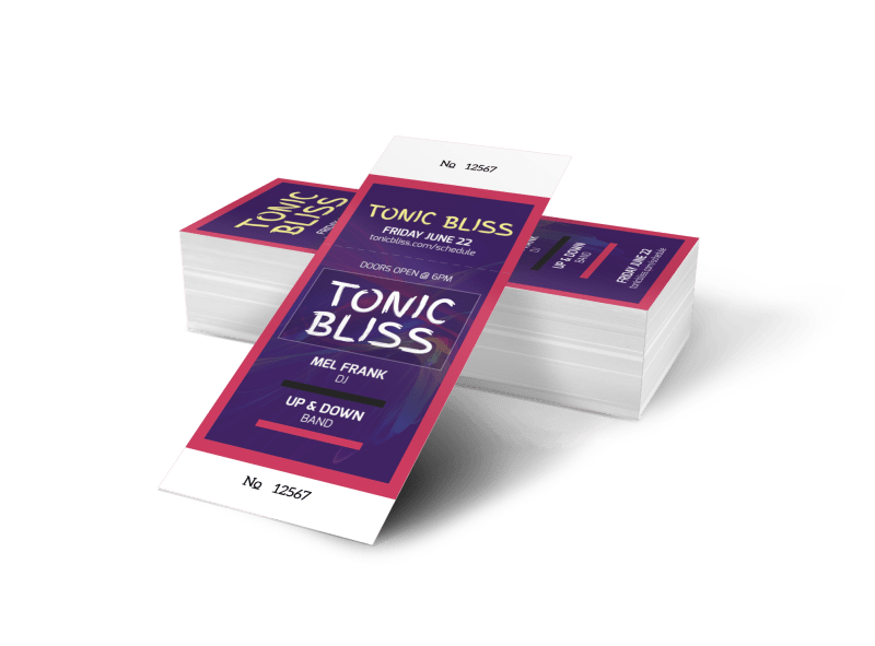 Tonic Bliss Music Concert Ticket Template Preview 1