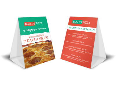 Blatts Pizza Table Tent Template