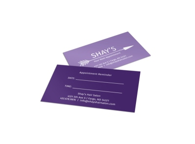 Shay's Hair Salon Reminder Card Template