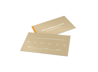 Family Chiropractic Center Reminder Card Template
