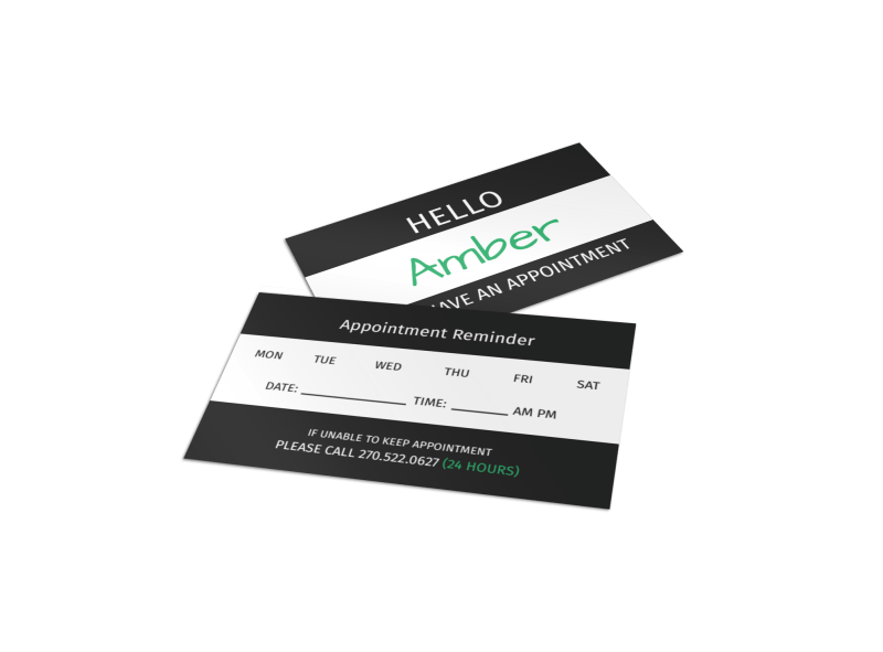 Hello Reminder Card Template Preview 1
