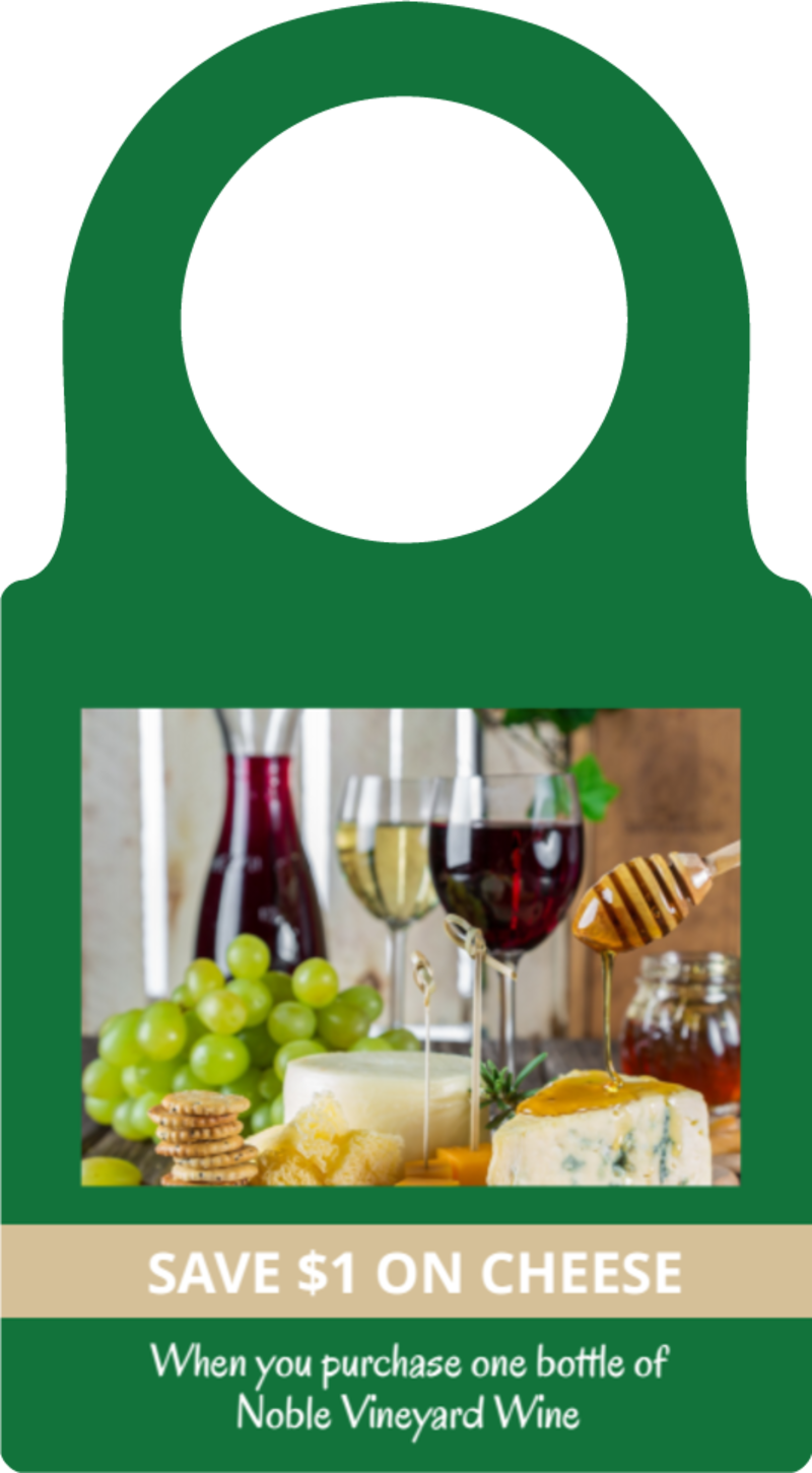 Wine & Cheese Promo Bottle Tag Template Preview 2