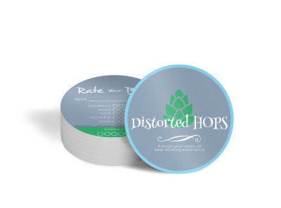 Distorted Hops Beer Circle Coaster Template