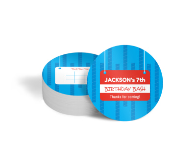 Birthday Bash Circle Coaster Template preview