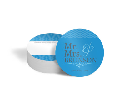 Mr. & Mrs. Wedding Circle Coaster Template