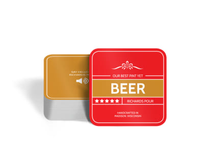 Richards Pour Beer Square Coaster Template preview
