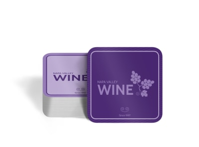 Napa Valley Wine Square Coaster Template preview