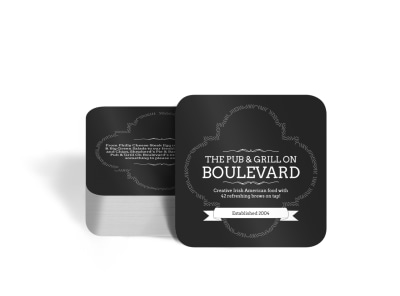 Boulevard Pub & Grill Square Coaster Template preview