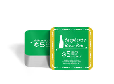 Shepherd's Brew Pub Square Coaster Template preview