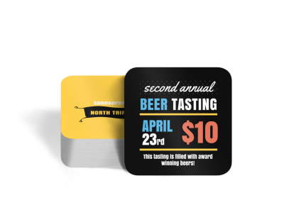 Beer Tasting Square Coaster Template preview