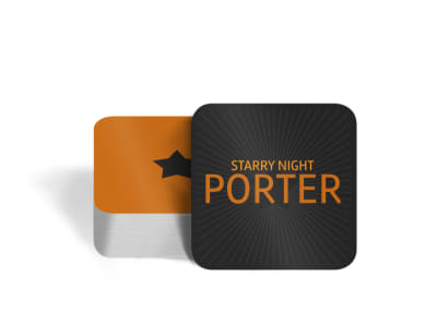 Starry Night Beer Square Coaster Template preview