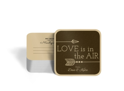 Newlywed Wedding Square Coaster Template preview