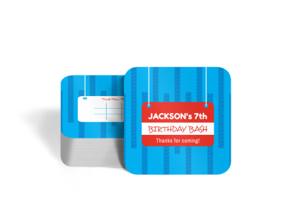 Birthday Bash Square Coaster Template preview