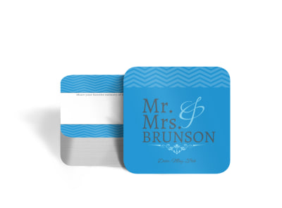 Mr. & Mrs. Wedding Square Coaster Template