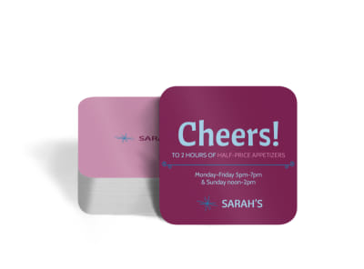 Sarah's Restaurant Square Coaster Template