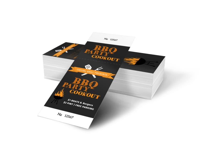 BBQ Party Cookout Ticket Template