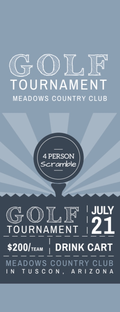 Golf Tournament Ticket Template Preview 1