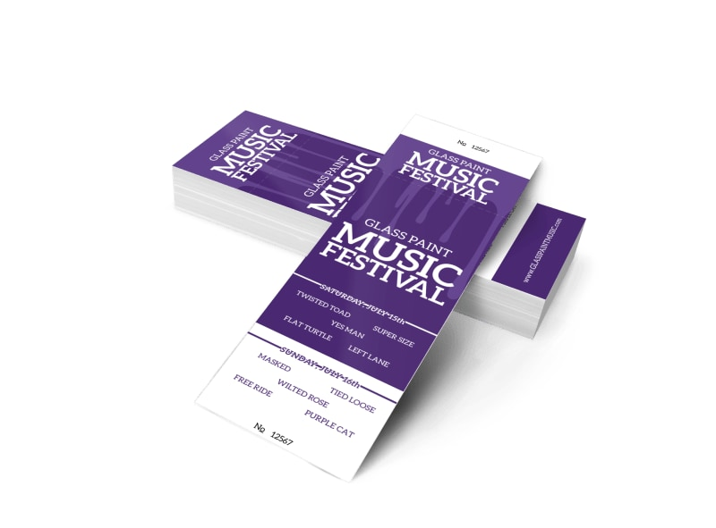 Glass Paint Music Festival Ticket Template 2
