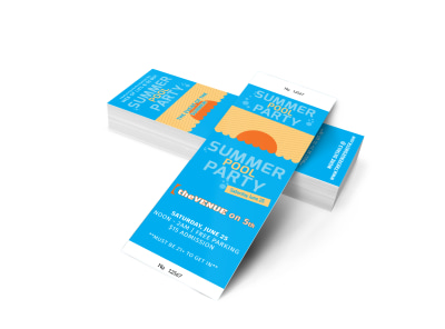 Summer Pool Party Ticket Template 2