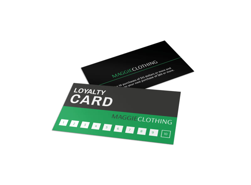 maggie clothing loyalty card template mycreativeshop. Black Bedroom Furniture Sets. Home Design Ideas