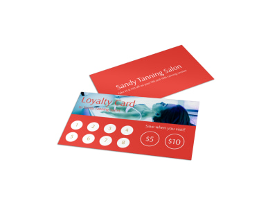 Sandy Tanning Salon Loyalty Card Template preview