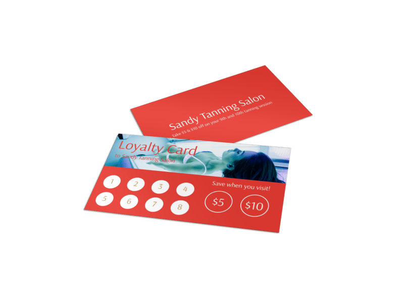 Sandy Tanning Salon Loyalty Card Template Preview 1