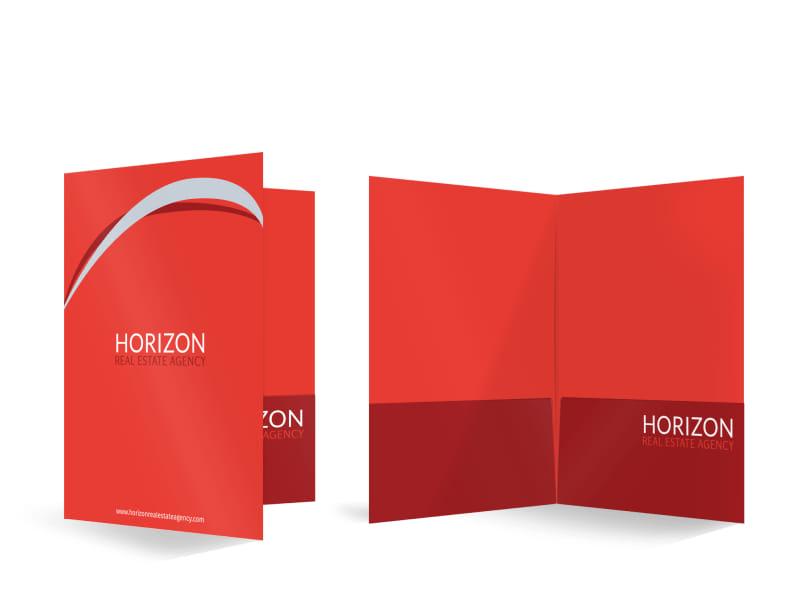 Horizon Real Estate Agency Bi-Fold Pocket Folder Template