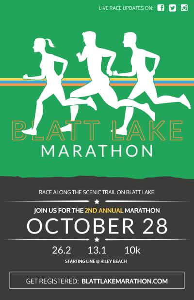 Blatt Lake Marathon Poster Template Preview 1