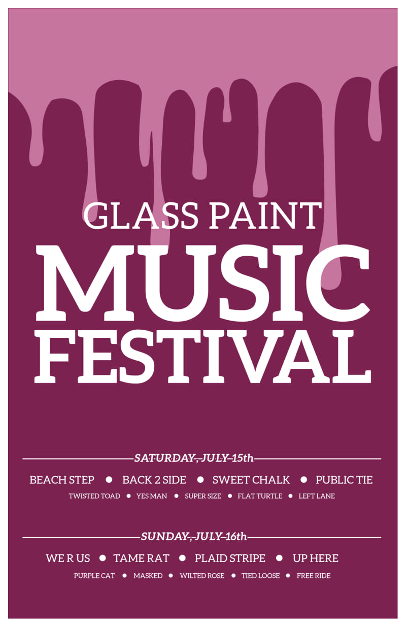 Glass Paint Music Festival Poster Template Preview 2