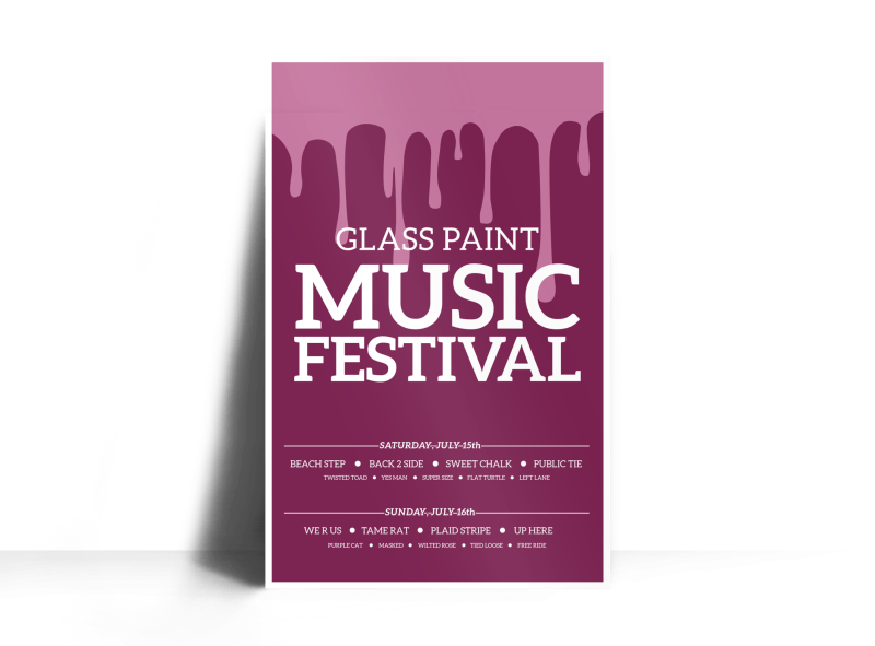 Glass Paint Music Festival Poster Template Preview 1