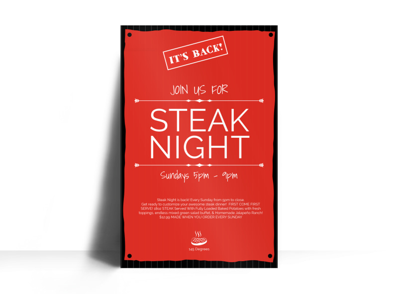 Steak Night Poster Template Preview 3