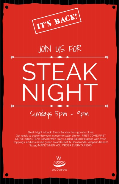 Steak Night Poster Template Preview 1