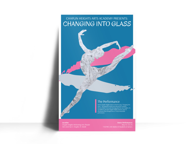 Into Glass Dance Show Poster Template