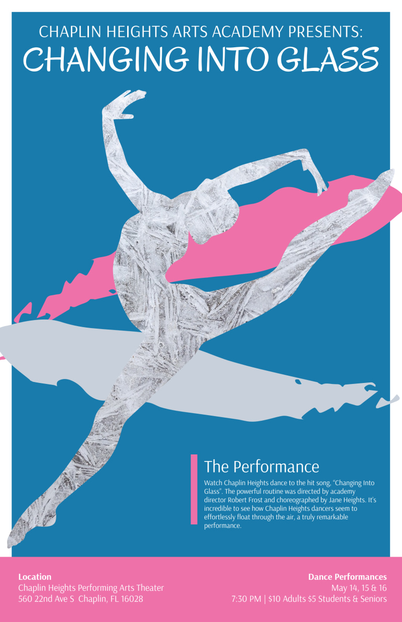 Into Glass Dance Show Poster Template Preview 2