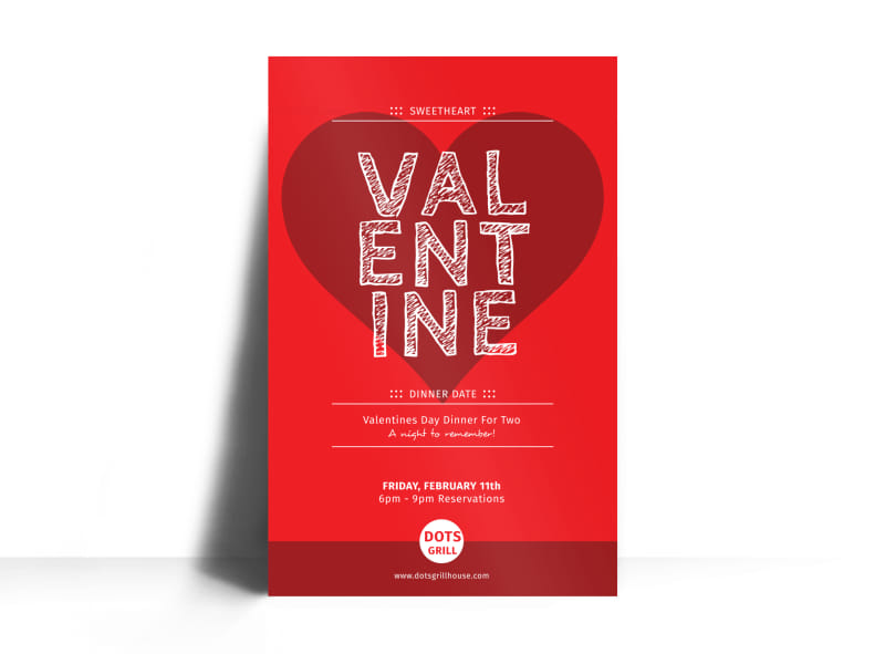 Valentine Dinner Poster Template Preview 3