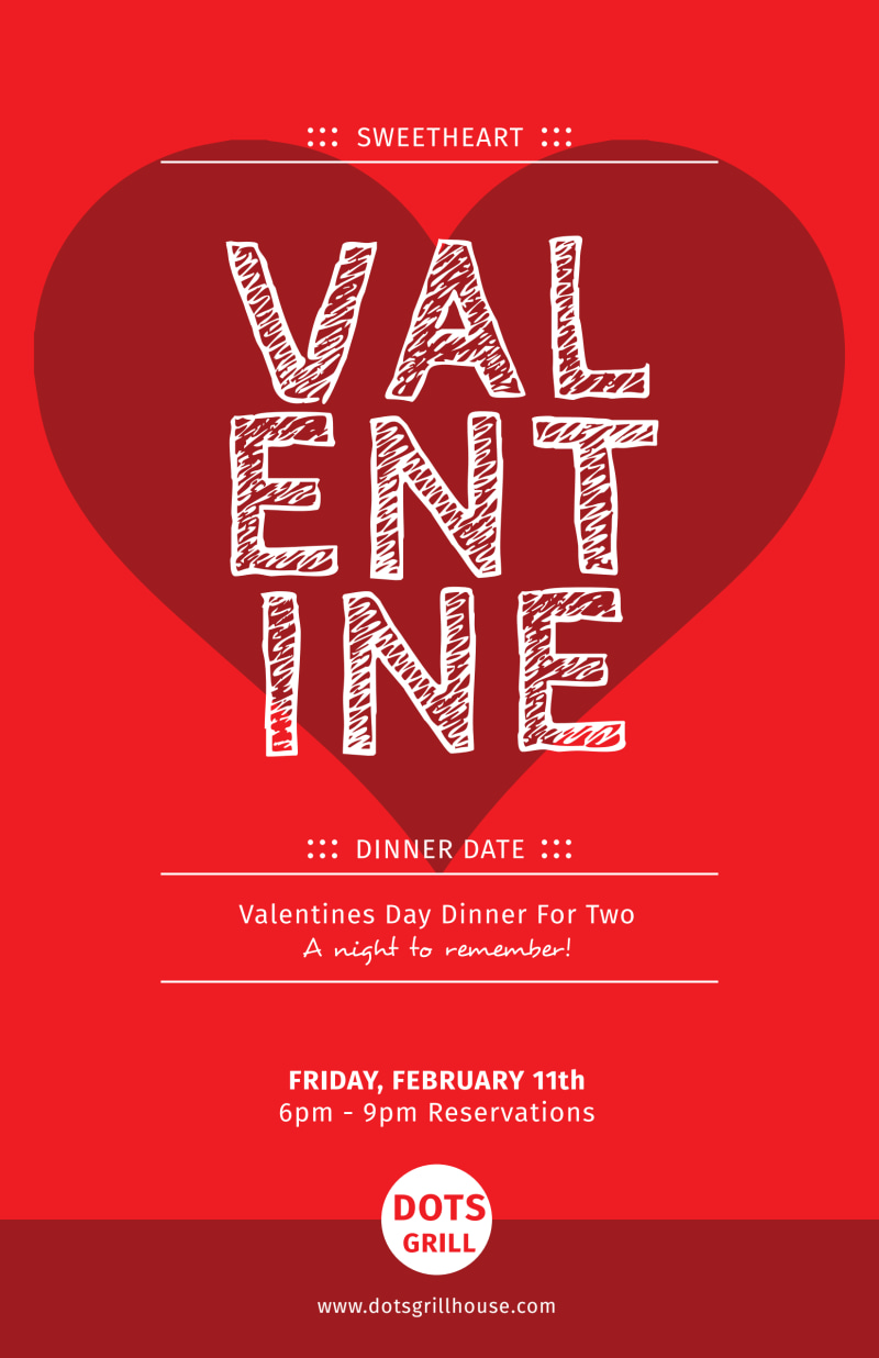 Valentine Dinner Poster Template Preview 2