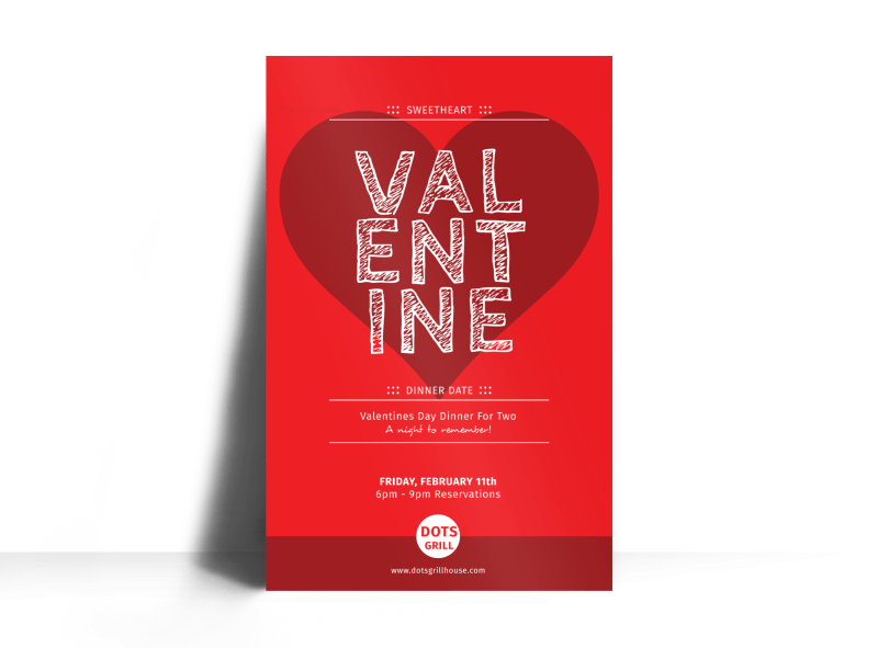 Valentine Dinner Poster Template Preview 1