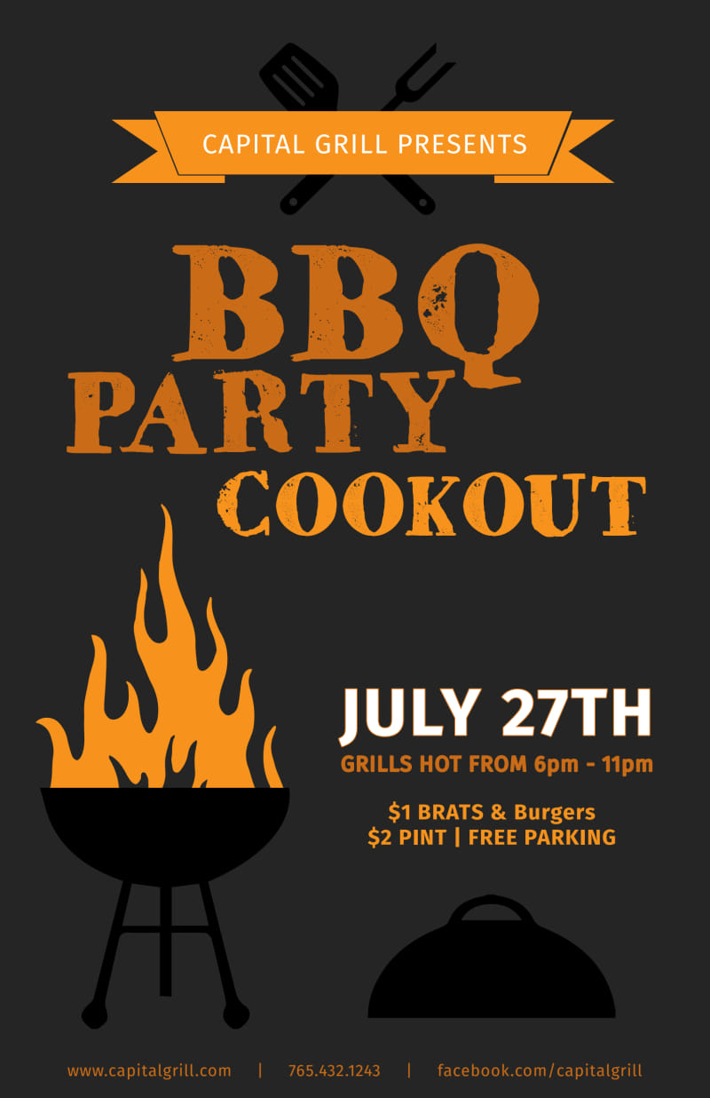 BBQ Party Cookout Poster Template Preview 2