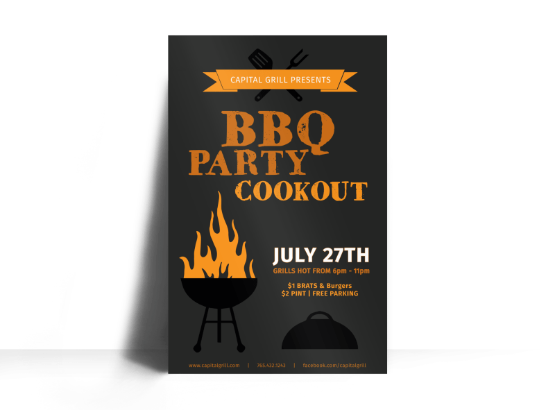 BBQ Party Cookout Poster Template Preview 1