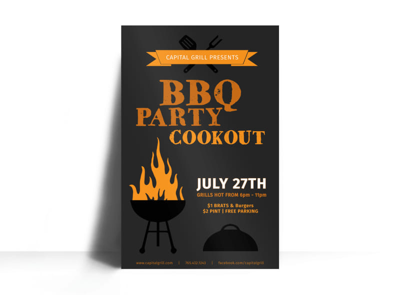 BBQ Party Cookout Poster Template