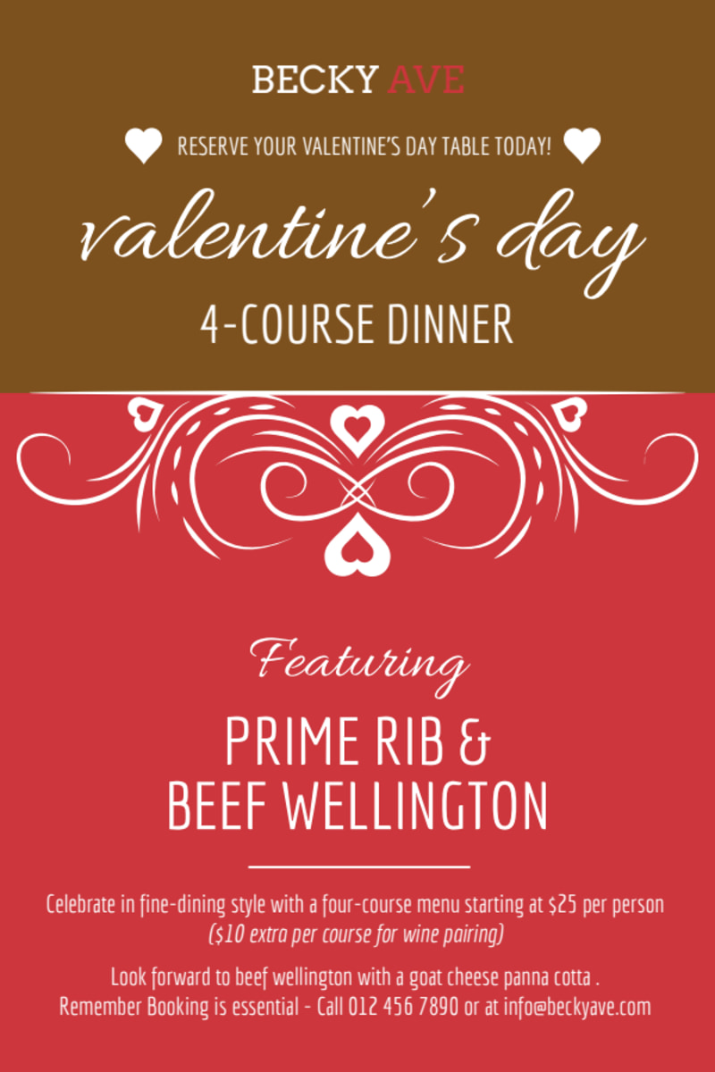 Valentin's Day Dinner Table Tent Template Preview 2