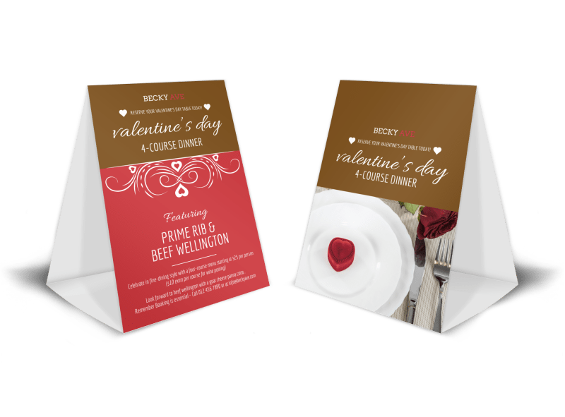 Valentin's Day Dinner Table Tent Template Preview 1